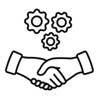 handshake icon with gears